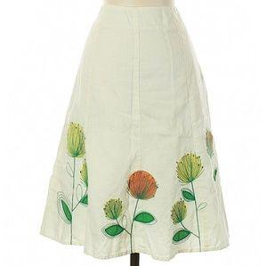 Boden Linen Floral Embroidered Skirt!